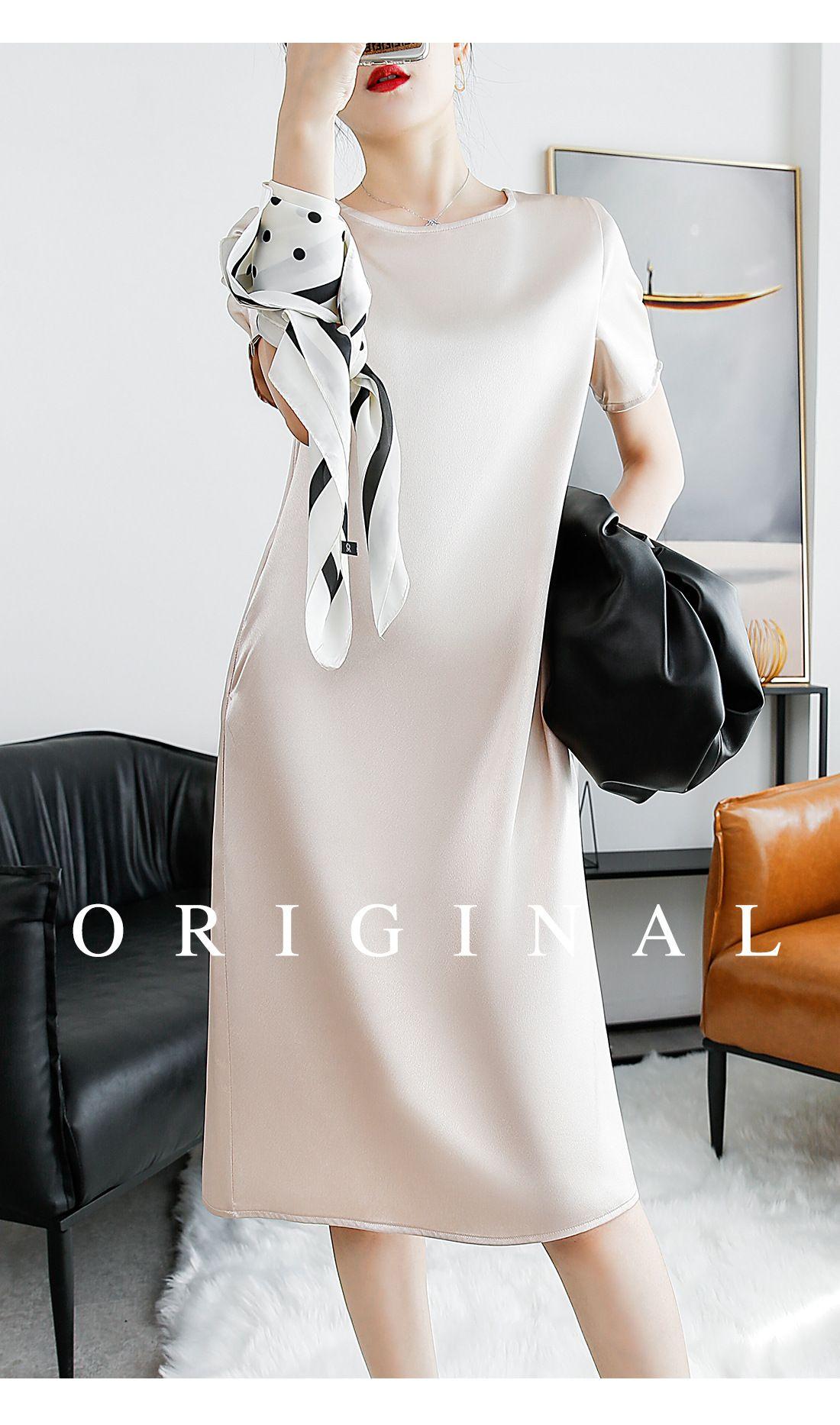 簡約雅致亮面洋裝