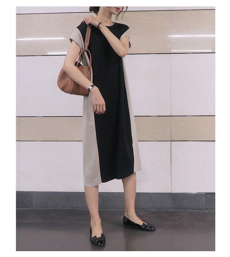 時尚優雅撞色洋裝
