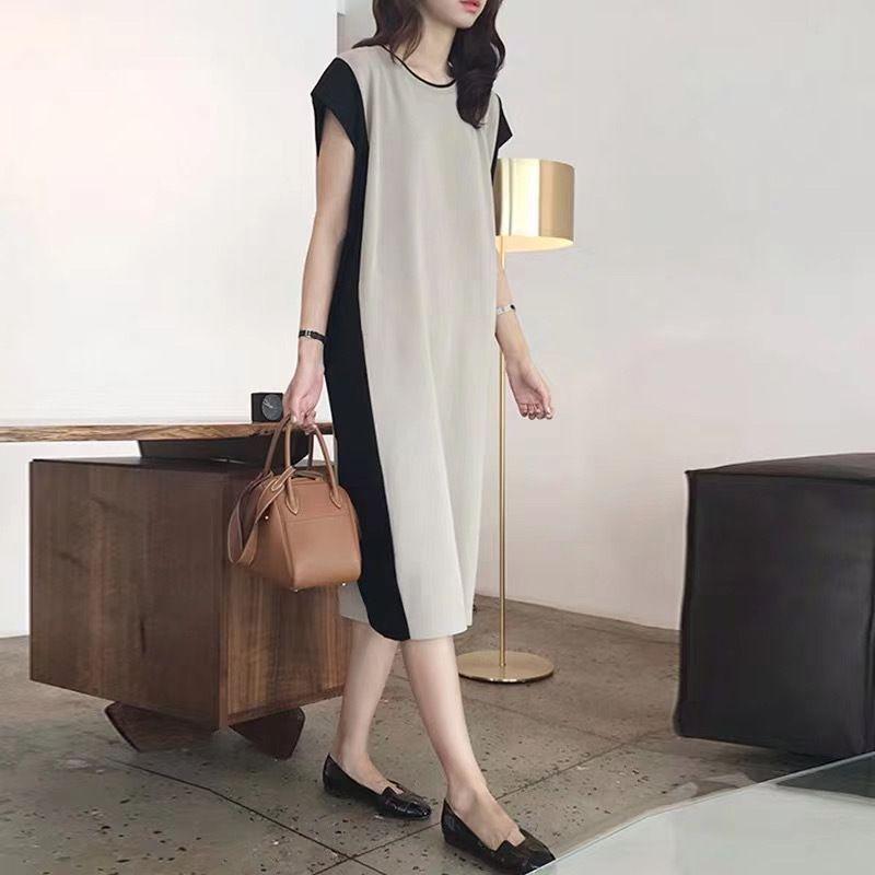 時尚優雅撞色洋裝,JEANSWE,百搭,時尚,撞色,中大尺碼