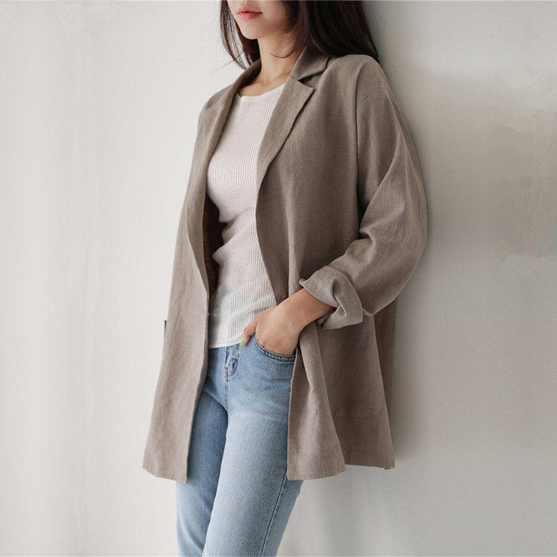 復古純色開襟外套