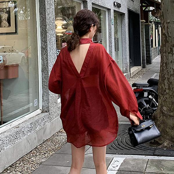 夏季露背防曬襯衫外套