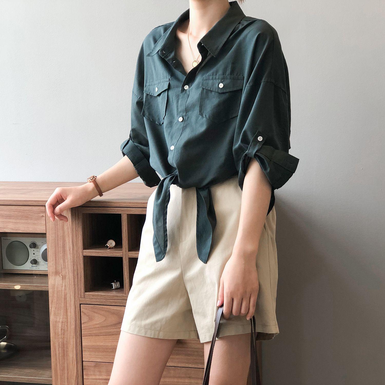 復古設計感綁帶襯衫
