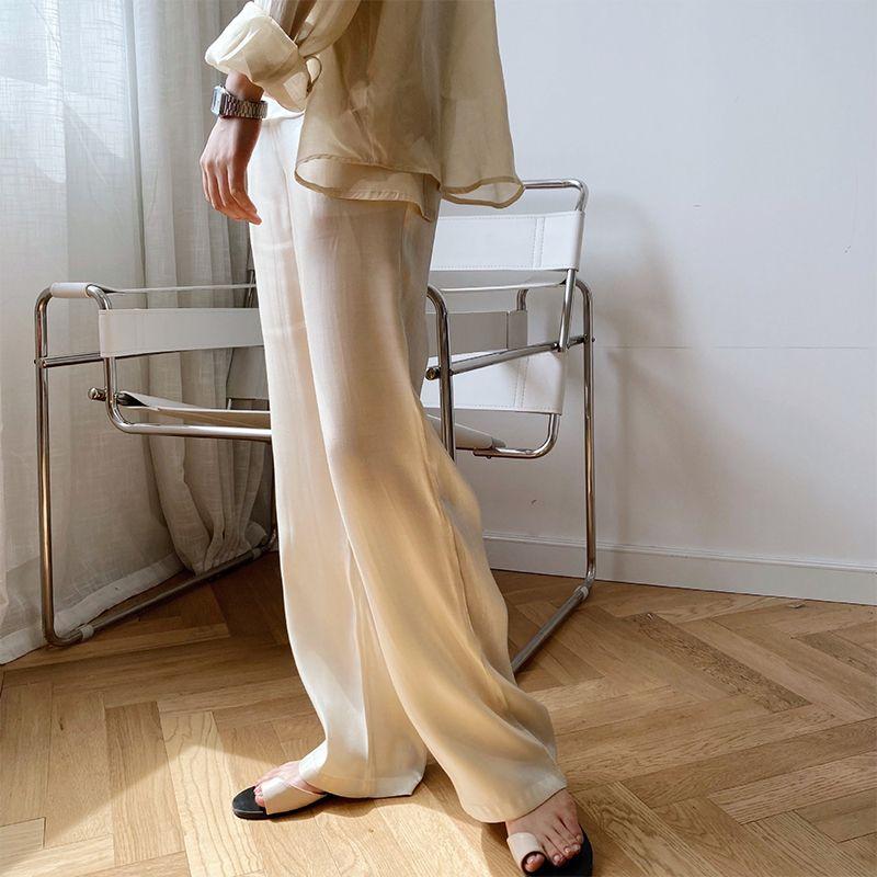 綢緞光澤直筒拖地褲