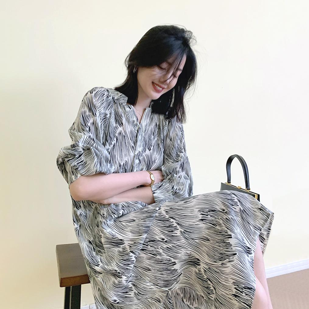 藝術風印染設計感洋裝