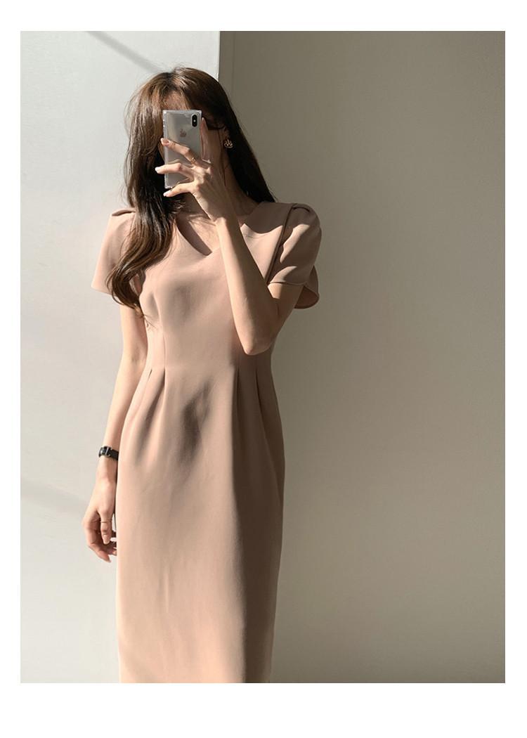 法式V領收腰洋裝