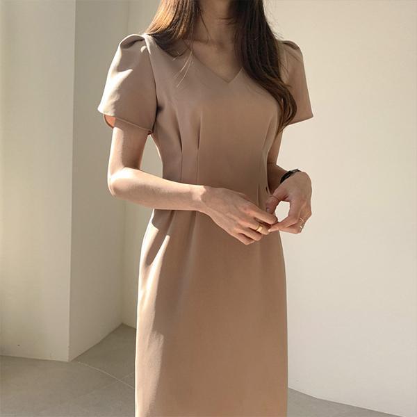 法式V領收腰洋裝,JEANSWE,百搭,V領,顯瘦,長裙