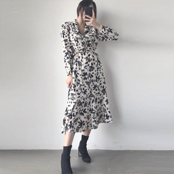復古花朵式襯衫洋裝