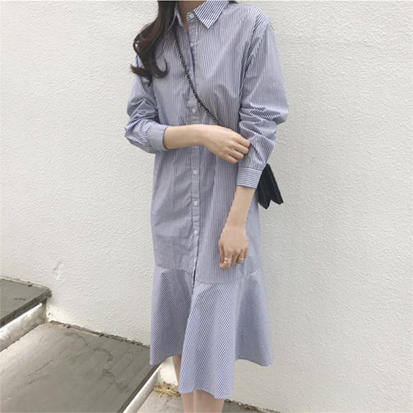 細條紋襯衫式魚尾洋裝
