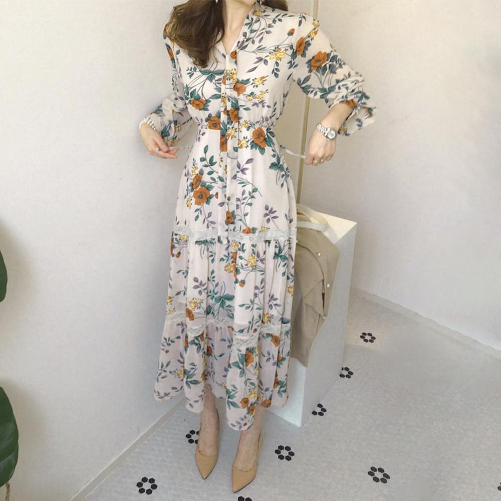 蕾絲拼接印花收腰洋裝,,evaviva,C0-TD04910,蕾絲拼接印花收腰洋裝,