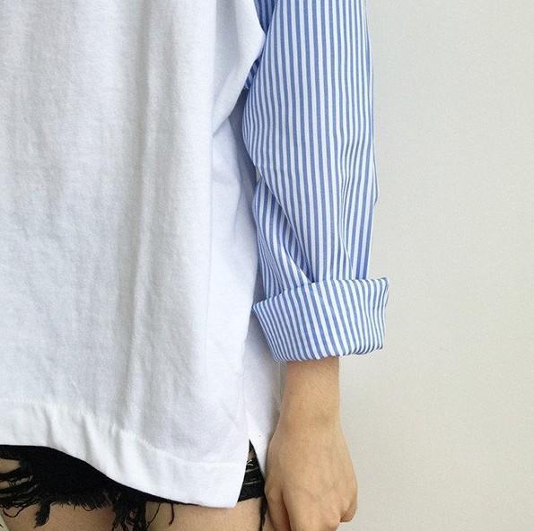 寬鬆百搭拼接條紋T恤