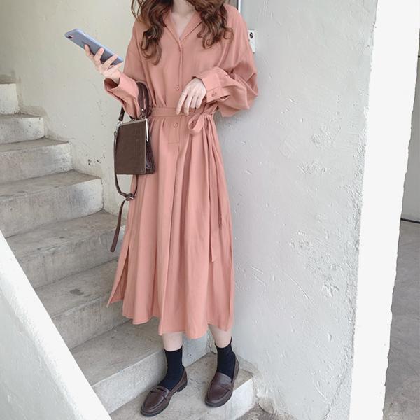秋色排釦長洋裝