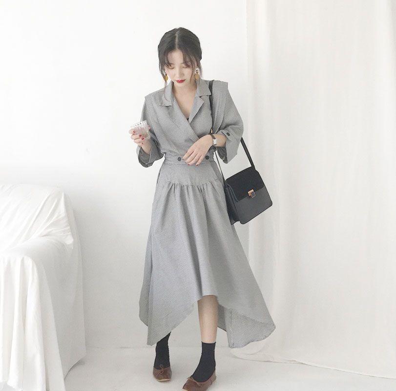 細格紋西裝式不規則洋裝