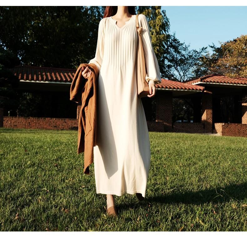 泡泡袖針織洋裝