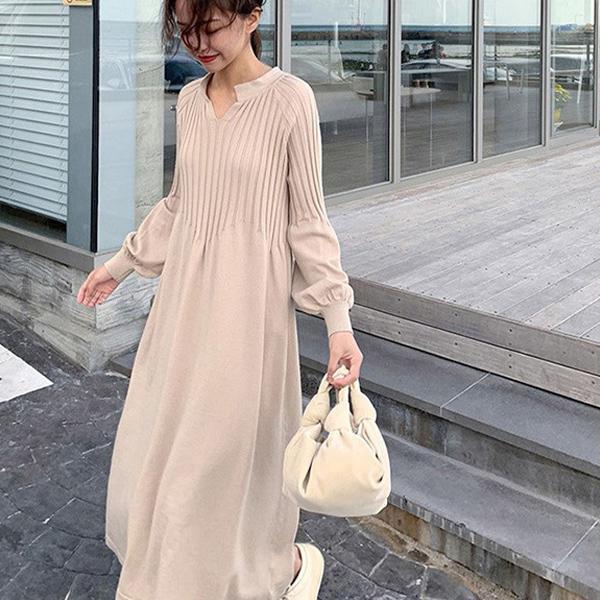 泡泡袖針織洋裝,JEANSWE,百搭,V領,泡泡袖,針織.長洋裝