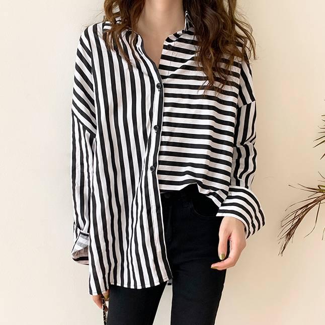 黑白個性條紋襯衫