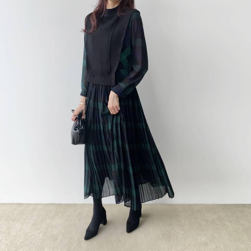 韓版拼接式假兩件格紋洋裝