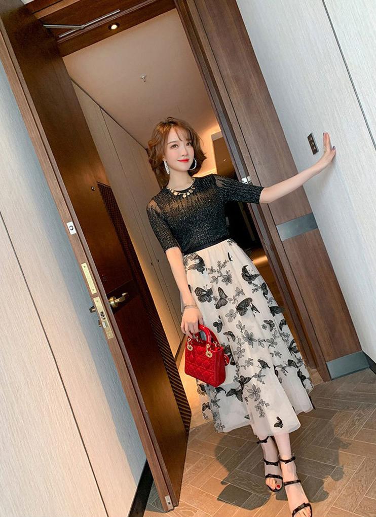 蝴蝶刺繡網紗長裙