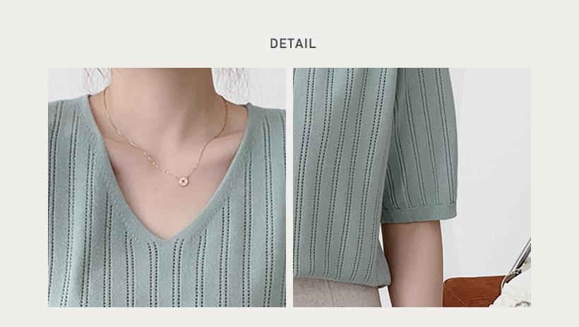 針織V領線條上衣