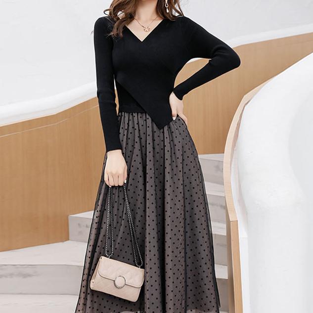 素色典雅洋裝,evaviva,時尚,百搭,收腰,點點