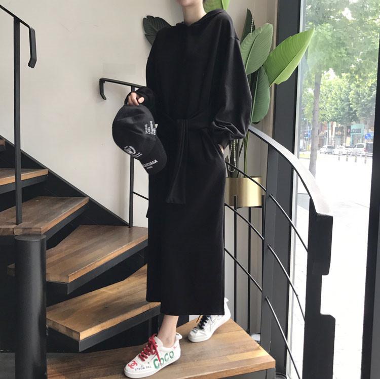 休閒連帽長版洋裝