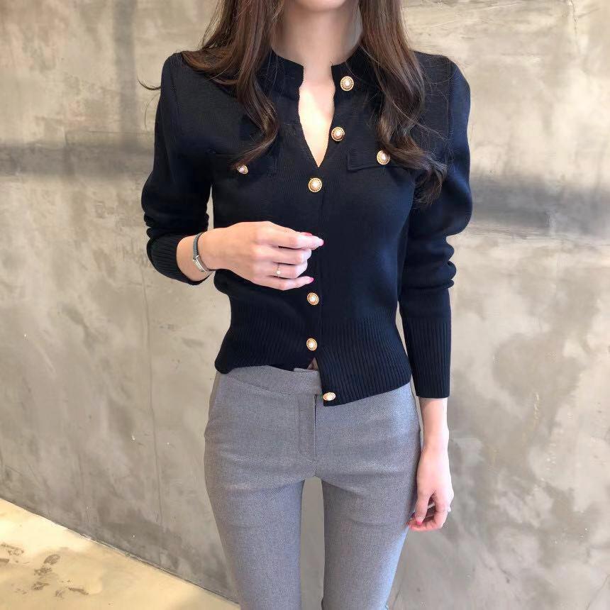 金屬珍珠釦修身針織外套