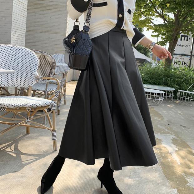【陳沂著用款】法式簡約皮裙