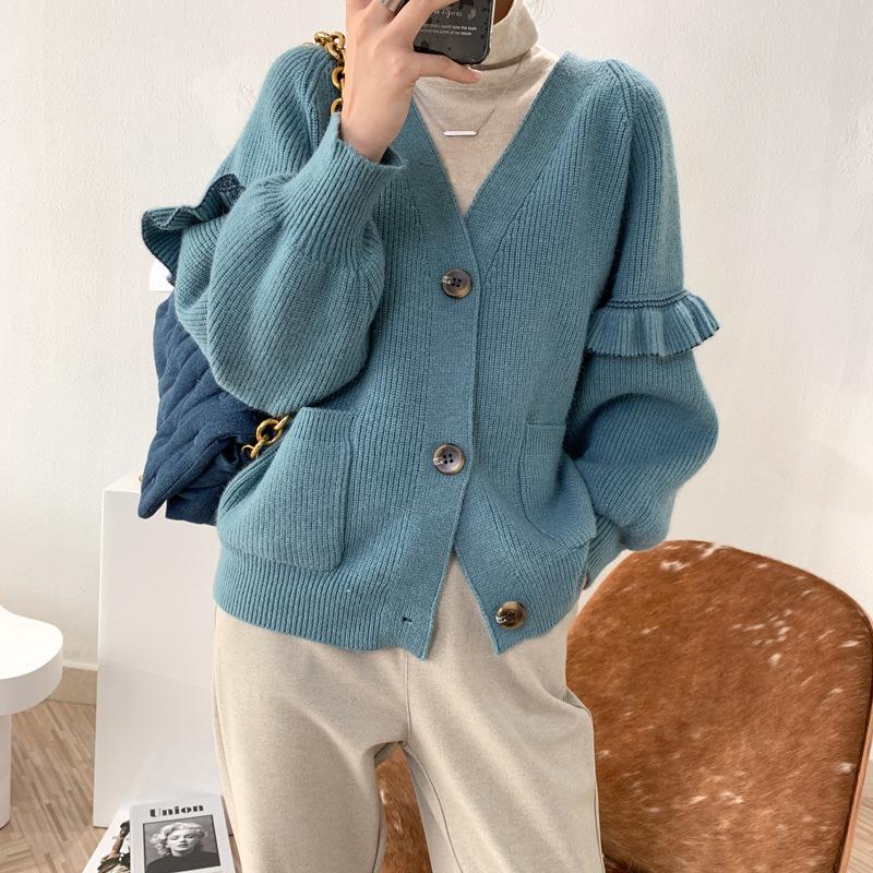 荷葉袖造型針織外套