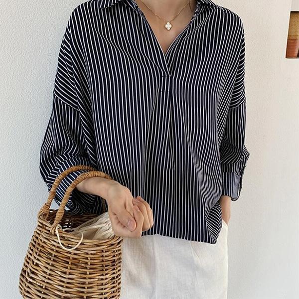 輕熟條紋寬鬆襯衫