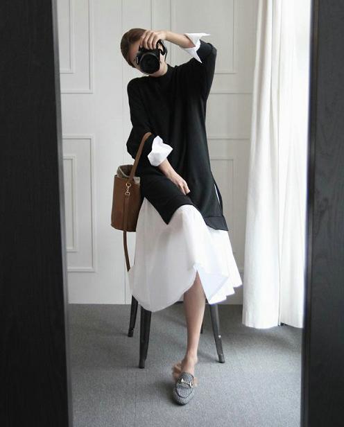 翻袖假兩件長版洋裝