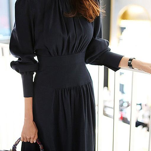 燈籠袖收腰氣質洋裝