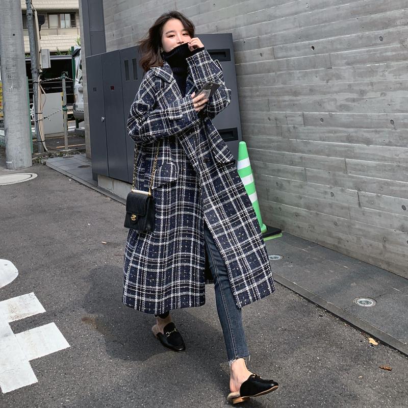 韓系格紋長版外套