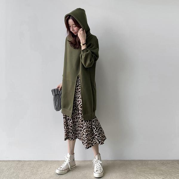 豹紋假兩件洋裝