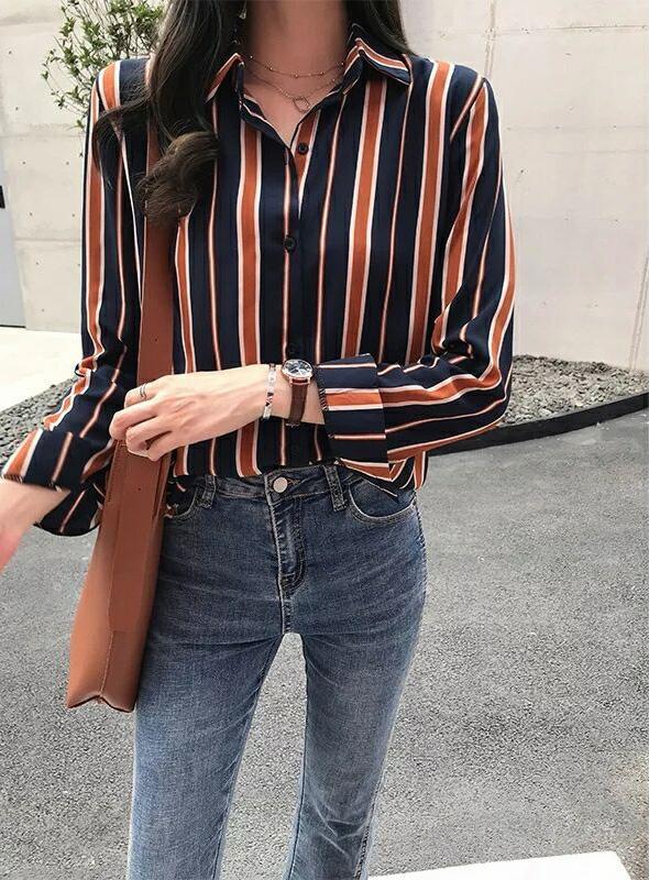 條紋撞色襯衫