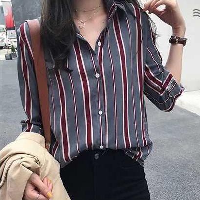 條紋撞色襯衫,,evaviva,32-TA05378,條紋撞色襯衫,