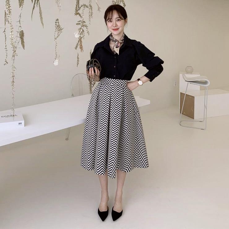 幾何印花高腰長裙