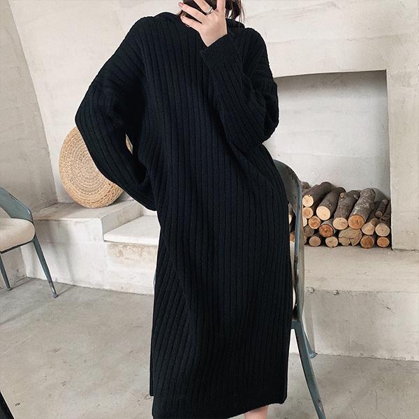 連帽V領針織洋裝,JEANSWE,百搭,連帽,針織,長裙