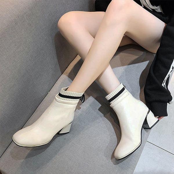 【藝人/網紅著用款】個性拼接襪靴