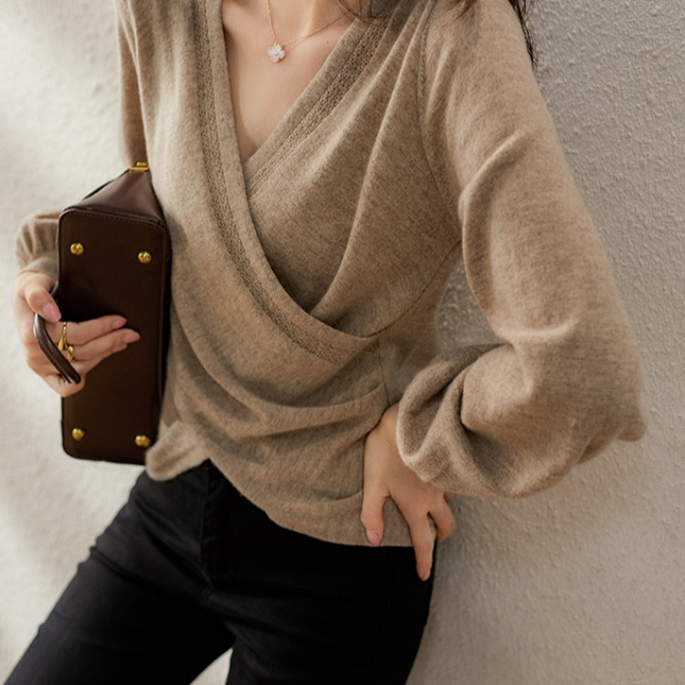 V領交叉毛衣上衣,時尚,百搭,V領,交叉,毛衣