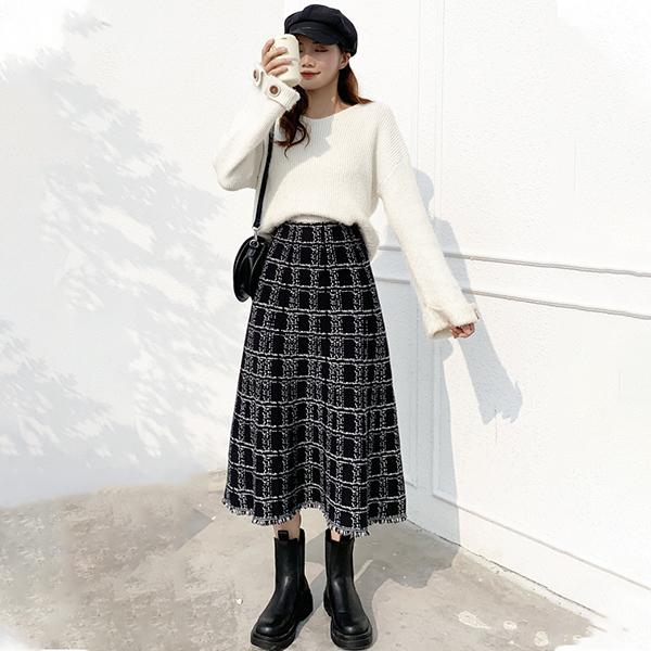 小香風高腰長裙