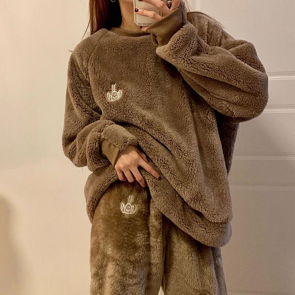 毛絨款寬鬆休閒上衣,百搭,毛絨,熊寶寶,毛絨絨,寬鬆