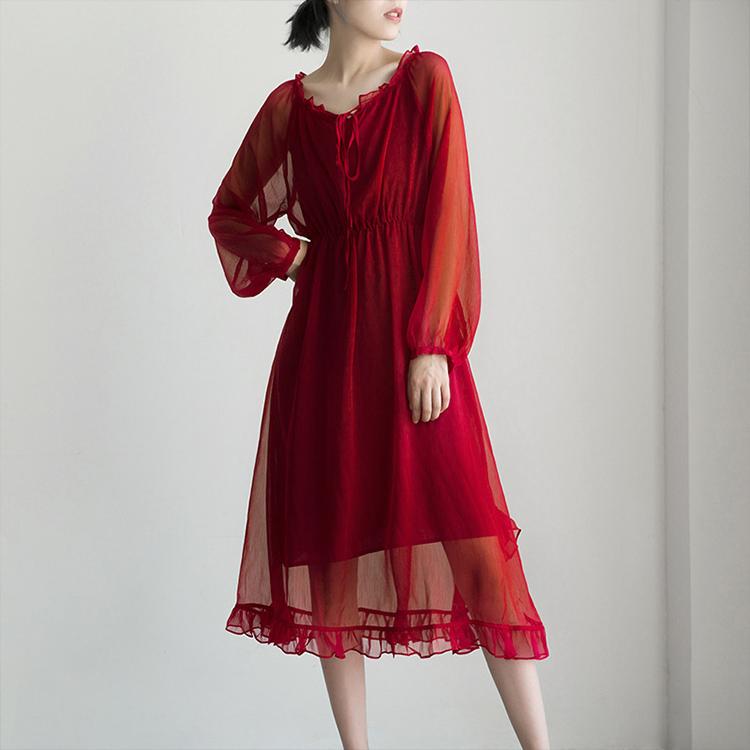紅色薄紗透視洋裝