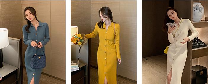 修身排釦針織洋裝