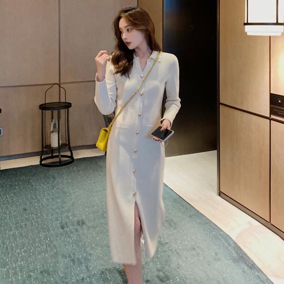 修身排釦針織洋裝,時尚,百搭,修身,排釦,針織