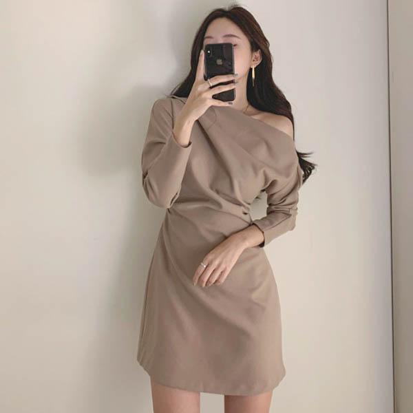 性感斜肩洋裝