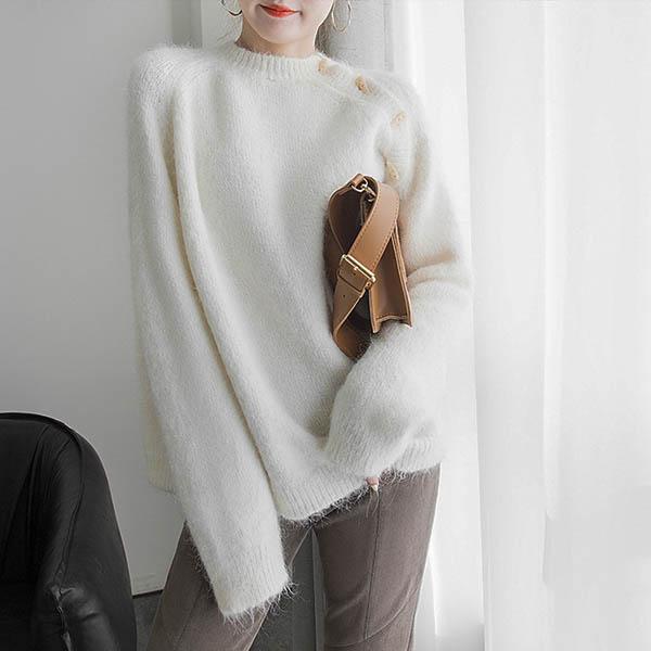 側開造型毛衣上衣
