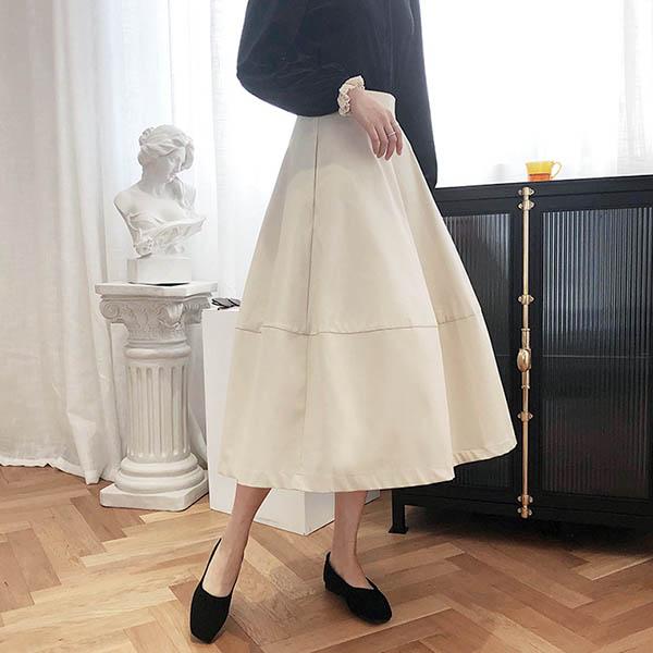 法式典雅棉感高腰裙