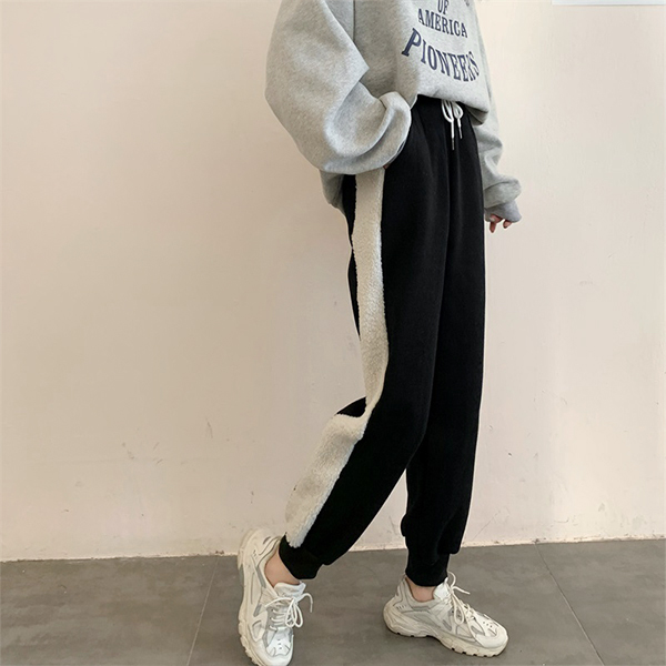 高腰休閒拼接運動褲
