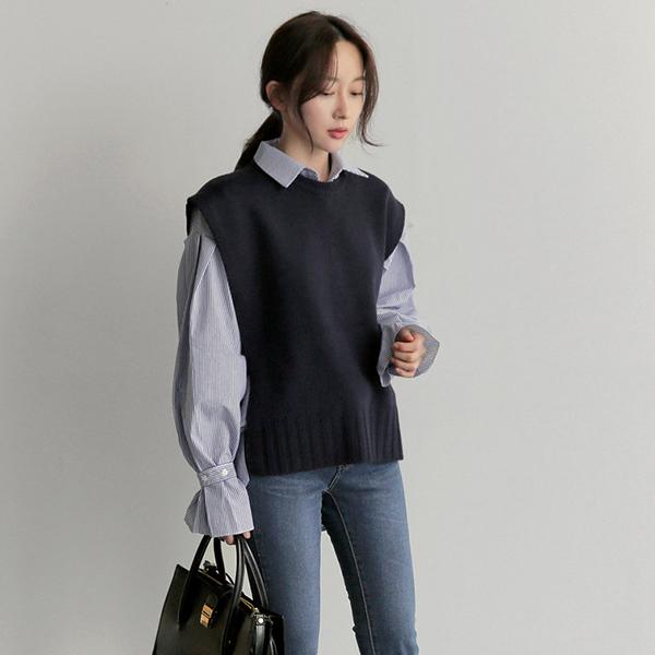 兩件式針織背心襯衫