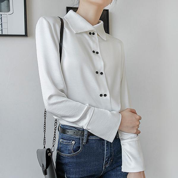 絲柔緞面排釦襯衫