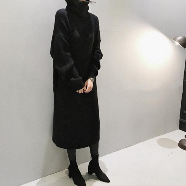 高領針織寬鬆洋裝